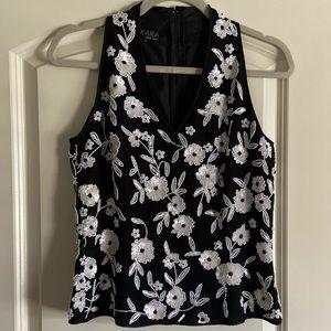 J Kara white sequined black top